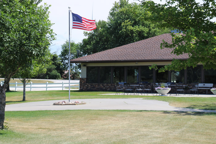 Breda Golf Course American flag and the gazebo
